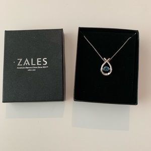Zales Blue Topaz and silver necklace